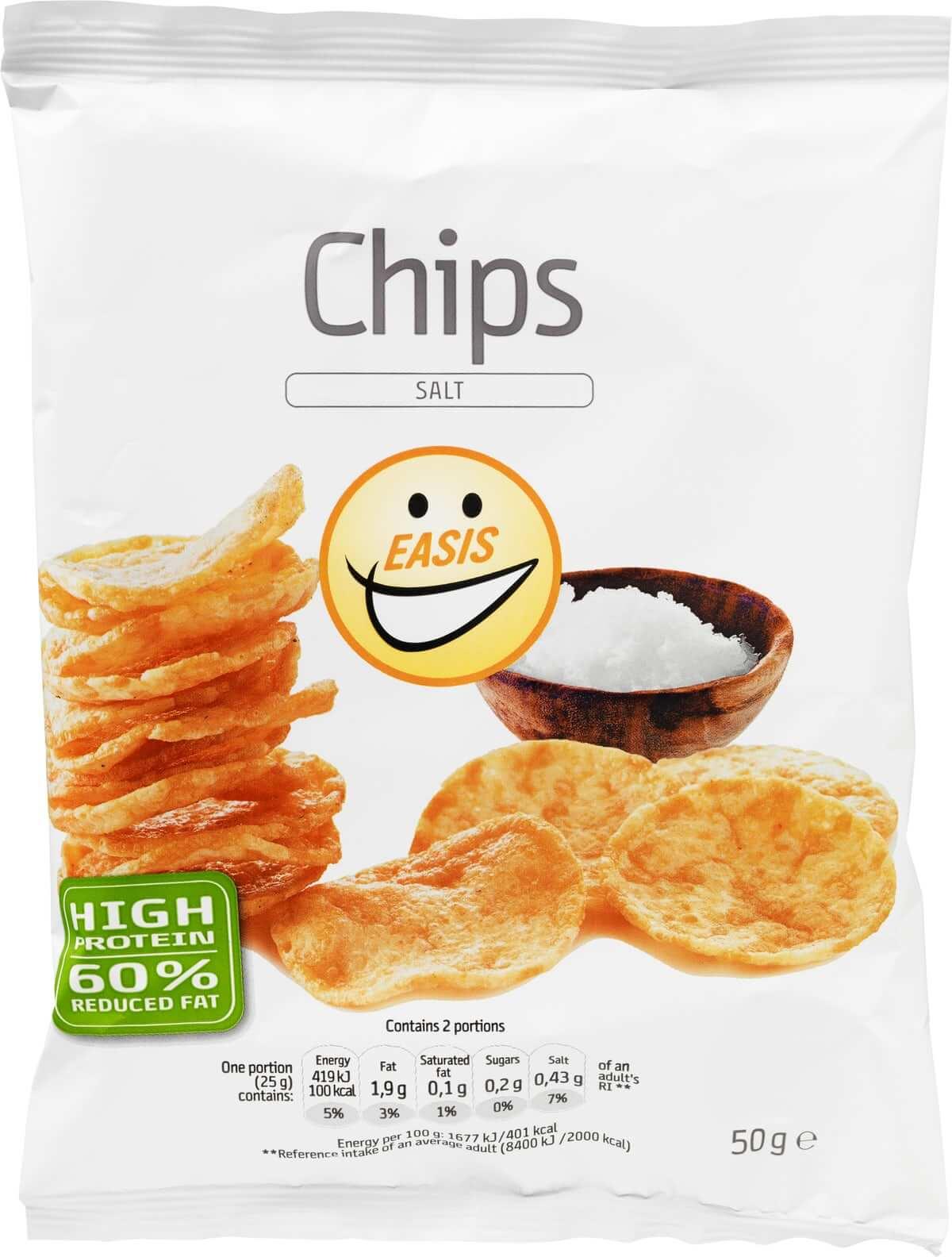 Easis salt chips med mindre fedt og højt indhold af fibre og protein