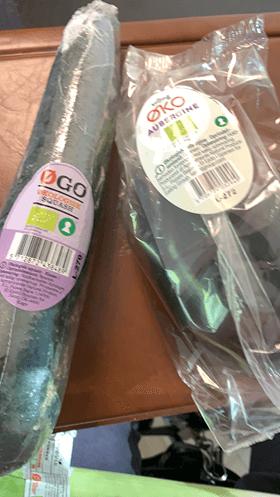 Øko grøntsager pakket ind i plast