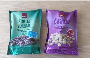 mandler og cashewnødder med lidt salt fra coop